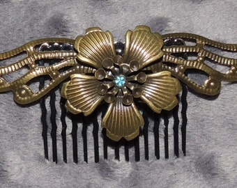 Bronze Tone Flower with Wings Hair Comb with Blue Center Embellishment
