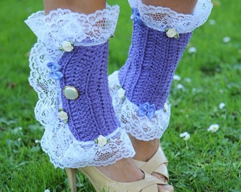 Victorian Style Leg Warmers - Lavender Spats with White Lace - Kawaii Fashion Accessories - Lots of Colors