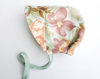 LAST ONE*  0-3 months ONLY - Brimmed Baby Bonnet Reversible - Sunhat - Mint Gold Grunge - Repurposed Floral - Vintage Inspired - baby gift