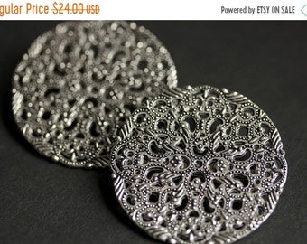 MOTHERS DAY SALE Two (2) Norse Shoulder Brooches. Ornate Silver Apron Pins. Silver Viking Brooches. Historical Renaissance Jewelry. Renaissa