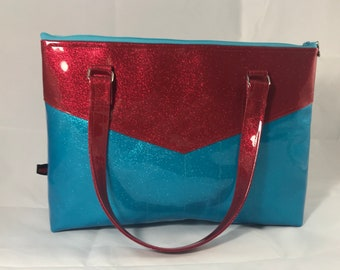 Red & Turquoise Sparkle Vinyl Purse