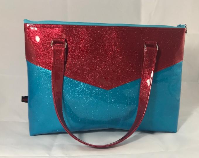 Red & Turquoise Sparkle Vinyl Purse