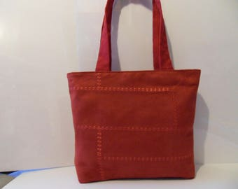 HANDBAG in Raspberry red fabric
