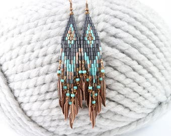 Fringe beaded earrings, Native American inspired, ethnic earrings, boho earrings, dangle earrings, gray and turquoise, Seed bead earrings