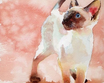 Siamese Cat Art Print of my  Watercolor Painting Seal Point Chocolate Point Bug Huge Large Custom Canvas portrait realistic realism