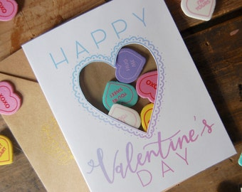 Happy Valentine's Day Conversation Hearts Card // Heart Shaped Window // Handmade Valentine's Day card