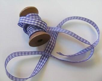 Gingham Plaid 2 Metres Purple Ribbon / 9mm