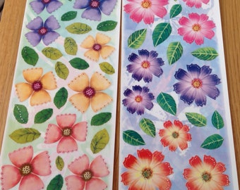 2 Sheets of Acetate Floral Stickers