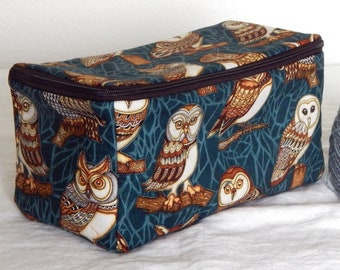 "Zippered project yarn box, double wide, 10"" x 5.5"" sock box bag, knitting, crochet, embroidery, Owls"