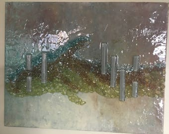 Original Painting with Glass and Resin Coating