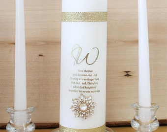 gold Unity Candle with crystals Ceremony Custom  Set Rustic Wedding Candle Made to order