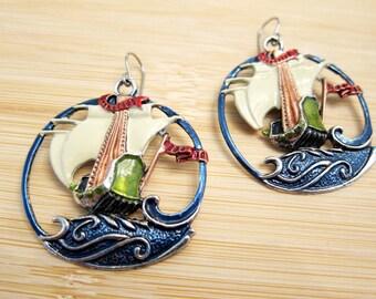 Spanish Galleon Ship Ocean Hand Painted Hoop Earrings