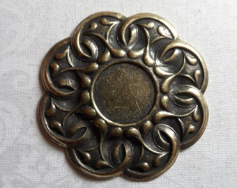 """Vintage gold plate brass stamped 14mm setting,1&3/4"""", 1pc-STS43"""