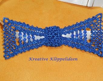 Handmade bobbin lace bow tie in blue glitter