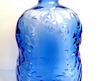 Collectible Cobalt Blue Glass Acorns and Oak Leaves Bottle