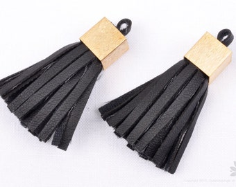 T014-BK// Matt Brushed Gold Plated Cap 40mm Black Leather Tassel, 2pcs