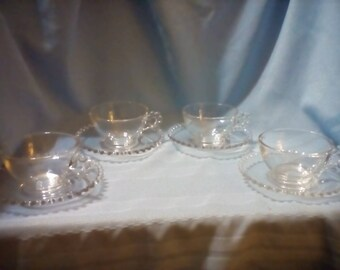 Imperial candlewick cups and saucers, candlewick cups, candlewick saucers, clear glass cups and saucers, collectible glass