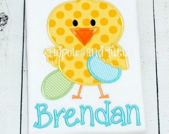 Personalized Adorable Chick with Easter Eggs, Chick with Easter Eggs Tee, Tshirt or Bodysuit