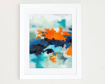 Watercolor Boys Nursery Wall Art, Blue Orange Abstract Art Print, Watercolor Abstract Painting, Colorful Modern Art Abstract Print