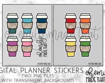 Rainbow Coffee Cups - Digital Planner Stickers