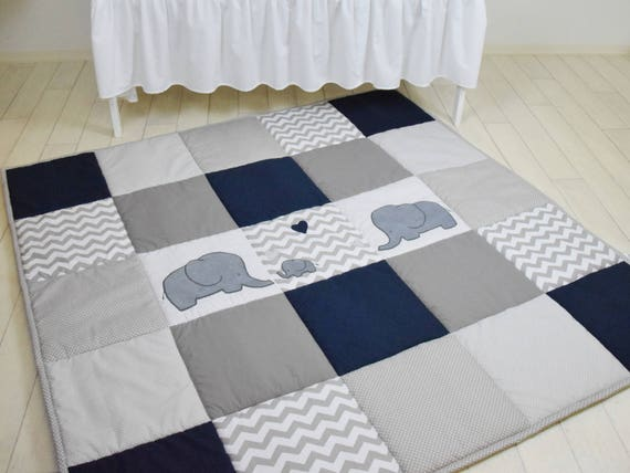 Elephant playmat, navy gray play mat, floor gym crawl mat, baby mat thick large, soft baptism gift for boys and girls