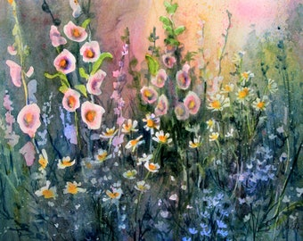 Flower Garden original watercolor painting by Bonnie White