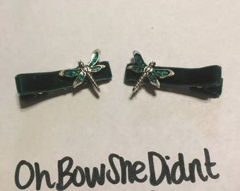 Opal inspired dragonfly dragonflies hair clip barrettes