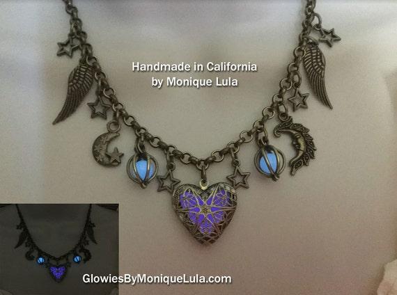Antiqued Purple Heart Glowing Locket Moon & Stars Statement Necklace