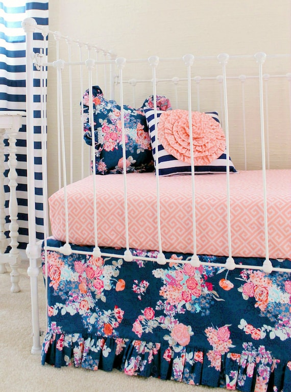 Navy And Coral Bedding Part - 15: Navy Floral Crib Bedding Baby Girl Bedding Coral And Navy