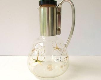 Mid Century Modern Atomic Coffee Carafe - Pyrex - Metallic Gold - Black and Cork Stopper - Coffee Carafe - Silver Metal Handle