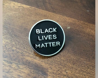 "Large size Black Lives Matter Lapel Pin 1"". In silver metal"