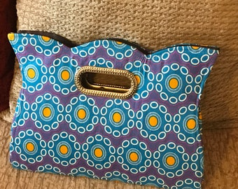 Blue Ankara clutch bag