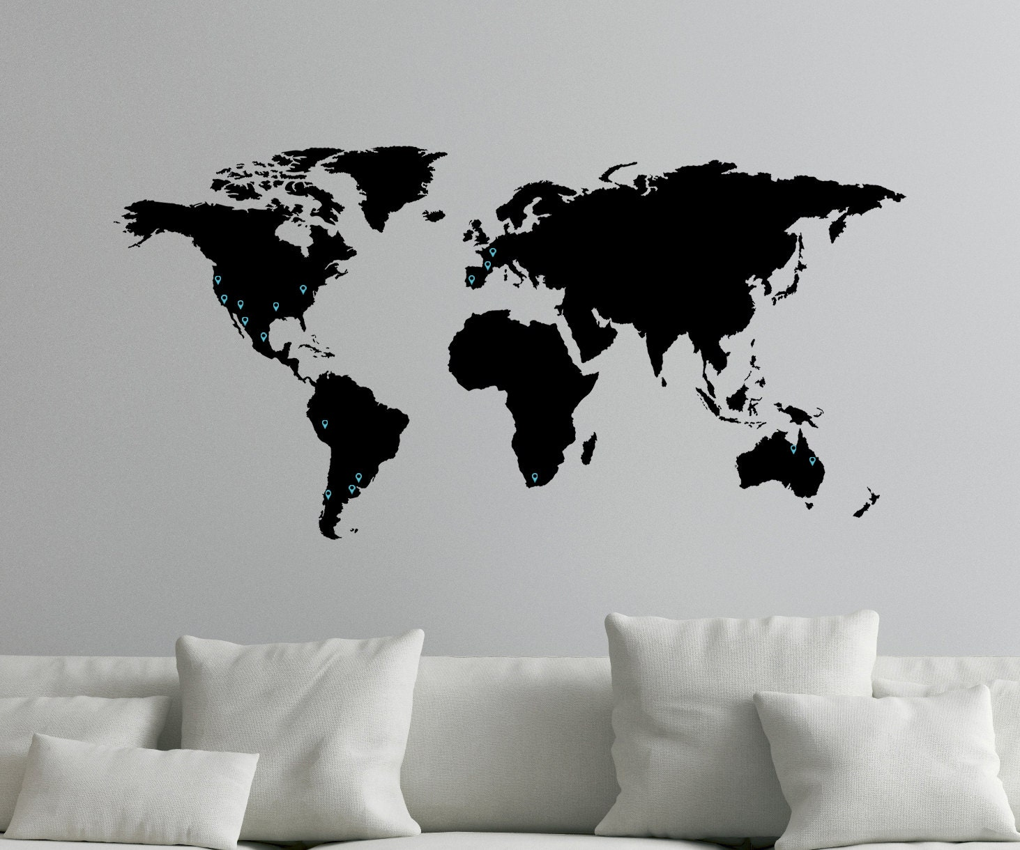 Large world map decal for wall with location markers 0050 description large world map gumiabroncs Choice Image