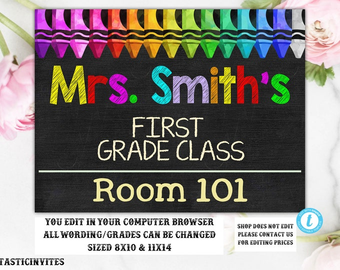 Teacher Door Sign Template, Teacher Name Sign, Classroom Decor, Editable, DIY, Teacher Sign, Personalized Teacher Sign, Sign, Classroom Sign