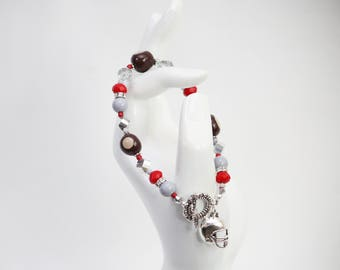 Scarlet Red and Gray College Football Team Beaded Bracelets. Ohio. Clay Buckeye Nuts Charms. Handmade Jewelry.