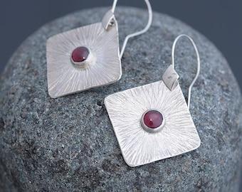 Garnet Earrings, Garnet Jewelry, Square Earrings & Garnet, Garnet Silver Earrings, Garnet Jewellery January Birthstone Earrings Gift for Her