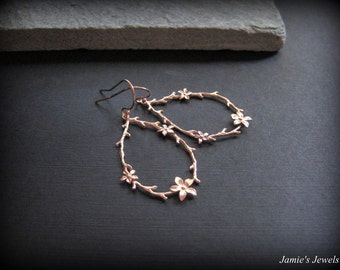 Rose Gold Flower Earrings - Flower Earrings Rose Gold- Twig Earrings - Rustic Earrings - Flower Gift -Everyday Rose Gold Earrings - Hoop