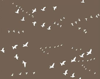 Fat Quarter Brown Flight Organic Cotton Birch Fabrics Camping Fabric Camp Sur 3 Collection Jay-Cyn Designs Quilt Fabric Bird Fabric