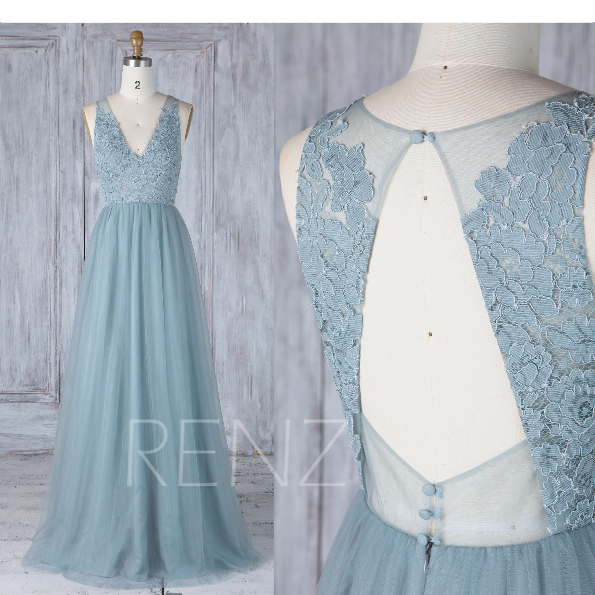 Bridesmaid Dress Dusty Blue Tulle V Neck Illusion Lace Wedding