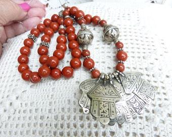 Moroccan Antique Silver Hamsa Necklace, Khamsa Necklace, Exceptional Moroccan Necklace with antique silver Hamsa Khamsa. Berber Necklace