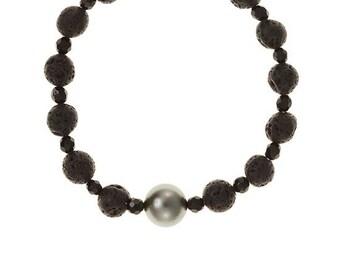 Lava Pearl Bracelet, Tahitian Pearl Bracelet, Lava Bracelet, Black Lava, Onyx, Pearl Jewelry, Gift, Hawaii Jewelry, Beach Jewelry