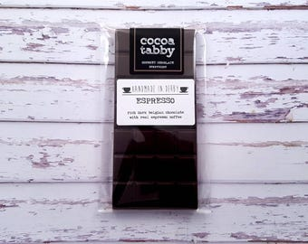Espresso - Dark Chocolate Bar. Handmade from Belgian chocolate. Dairy free. .