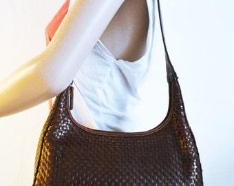 Valerie Stevens, Brown Leather purse,bag,Weaved leather, Purses Slightly Distressed look