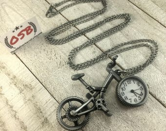 Bicycle watch necklace, watch pendant, bike watch necklace, silver necklace, long layering necklace, gift for her, under 25
