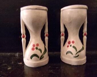 Vintage Pair of Hourglass Metal Salt & Pepper Shakers
