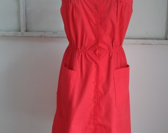 Vintage 1980s Walden Petite Red Button Down Pin Up Dress