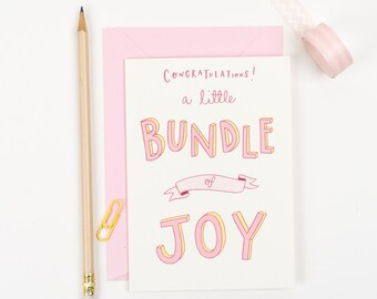 New baby girl card - bundle of Joy - card for new parents - birth congratulations - card for new baby daughter