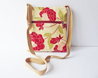 Cross-body Bag, Adjustable Strap, Fabric Shoulder Bag, Zipped Front Pocket, Fully Lined Interior, Designer Floral Fabric, OOAK, UK Seller