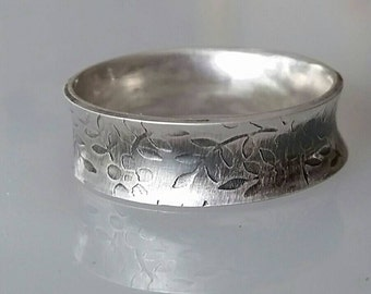 Silver Ring, Silver Band, Wedding Ring, Anticlastic Sterling Silver Ring, Curved Ring, Gift for her him wife husband, Modern Patterned Ring