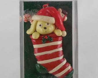 Vintage Enesco Christmas Ornament Puppy Dog in Stocking with Candy Canes